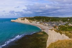 Etretat cliffs with arch - Normandy France. Travel and nature background Royalty Free Stock Photo