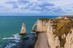 Etretat cliffs with arch - Normandy France. Travel and nature background Stock Photos