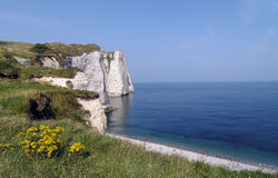 Etretat coast in normandy stock image