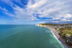 Etretat coastline and city Stock Photos