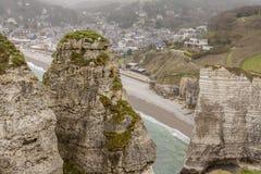 Etretat, France Cote dAlbatre (Alabaster Coast) is Stock Photography