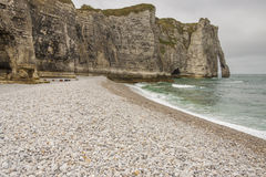 Etretat, France Cote dAlbatre (Alabaster Coast) is Stock Photos