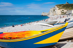 ETRETAT, FRANCE - : Etretat cliff and its beach with unknown peo Royalty Free Stock Images