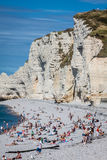 ETRETAT, FRANCE - : Etretat cliff and its beach with unknown peo Stock Image