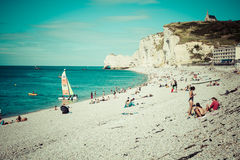 ETRETAT, FRANCE - : Etretat cliff and its beach with unknown peo Royalty Free Stock Photography