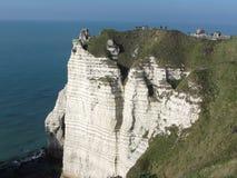 Etretat Frankreich schaukelt occeoan gekostete Landschaftstapete stockbild