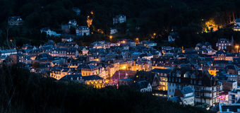Etretat Normandy. View of Etretat by night Royalty Free Stock Photo
