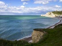 Etretat op de Hogere kust van Normandië in het Noorden van Frankrijk Stock Fotografie