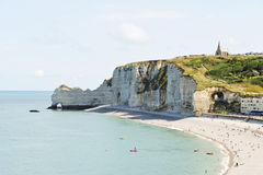 Etretat resort beach on english channel Royalty Free Stock Photos