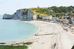 Etretat resort town on english channel beach Royalty Free Stock Photography