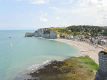 Etretat resort village on english channel beach Stock Image
