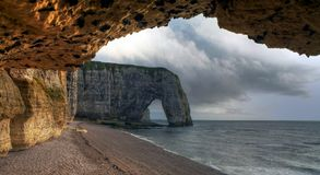 Etretat. Sea cliffs landscape Etretat Normandy France Stock Photos