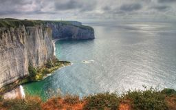Etretat. Sea cliffs landscape Etretat Normandy France Stock Photo