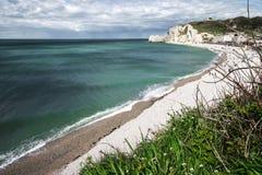 Etretat sulla costa dell'Alta Normandia nel Nord della Francia Fotografia Stock Libera da Diritti