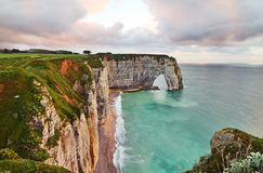 Etretat at sunset Royalty Free Stock Photos