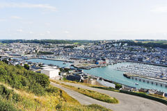 Etretat town on English Channel cshore in Normandy Stock Photo