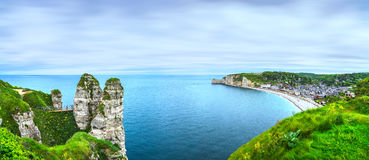 Etretat village and bay beach. Aerial view from the cliff. Norma Royalty Free Stock Photo