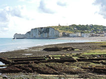 Etretat village and cliff on english channel beach. Of cote d'albatre, France Royalty Free Stock Photos