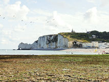 Etretat village and cliff on english channel Royalty Free Stock Image