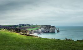 Etretat in Winter , from the top stock photo