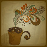 Etro Konzeptaufbau mit Tasse Kaffee lizenzfreie abbildung