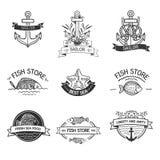 Etro rocznika insygnie lub logotypy ustawiający z z Royalty Ilustracja