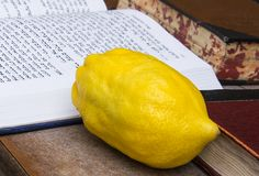 Etrog and Siddur book stock photo