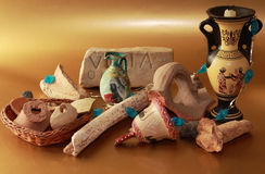 Etruscan archaeological finds. A archeological finds, reproduction and originals Stock Image