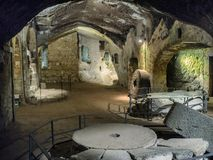 Etruscan caves under Orvieto made for breeding birds and defence Stock Images