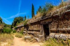 Etruscan gravvalv i Cerveteri, Italien Arkivfoton