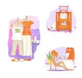 etruscan Odziewa dla odpoczynku i podróży Mądrze i przypadkowi ubrania na wieszakach Walizka z ubraniami i naczyniami Dziewczyna  royalty ilustracja