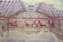 Etruscan tomb with frescoes, Tarquinia 4 Royalty Free Stock Images