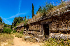 Etruscangraven in Cerveteri, Italië Stock Foto's