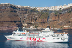 Ets Tour cruise ship. In Santoriny, Greece Stock Image