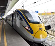 ETS Train  inter- city rail service in Malaysia. ETS Launched in August 2010, the service originally operated between Ipoh and Seremban but the KL Sentral Royalty Free Stock Image