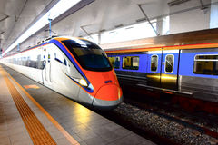ETS Train inter- city rail service in Malaysia. ETS Launched in August 2010, the service originally operated between Ipoh and Seremban but the KL Sentral Royalty Free Stock Photo