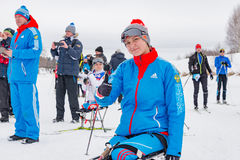 11 ettåriga växten för det Februari 2017 konst-Veretevogodset skidar loppet som Nikolov Perevoz Russialoppet 2017 skidar maraton  Arkivfoto