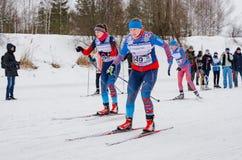 11 ettåriga växten för det Februari 2017 konst-Veretevogodset skidar loppet som Nikolov Perevoz Russialoppet 2017 skidar maraton  Royaltyfri Foto