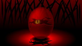 Ett ägg med ett sprucket skal och ett monster i mitt som ut ser