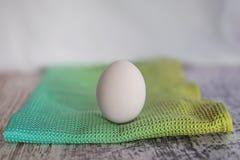Ett ägg på en kulör torkduk royaltyfri fotografi