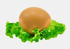 Ett ägg som isoleras på vit bakgrund med den snabba banan Royaltyfri Fotografi