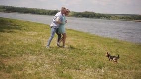 Ett älska par med deras älsklings- hund roar sig och kör omkring i parkera på stranden stock video