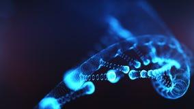 Ett ämne som består av partiklar 3D framförde DNA på en blå bokehbakgrund vektor illustrationer