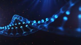 Ett ämne som består av partiklar 3D framförde DNA på en blå bokehbakgrund stock illustrationer