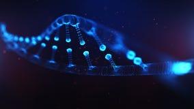 Ett ämne som består av partiklar 3D framförde DNA på en blå bokehbakgrund royaltyfri illustrationer
