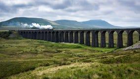 Ett ångadrev korsar en viadukt i Yorkshire royaltyfri bild