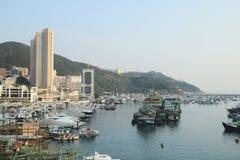 ett Aberdeen tyfonskydd i Hong Kong Arkivbild