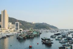 ett Aberdeen tyfonskydd i Hong Kong Arkivfoton