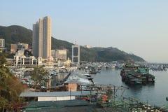 ett Aberdeen tyfonskydd i Hong Kong Arkivbilder