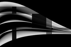 Ett abstrakt arbete av fem ark av papper i svartvitt Arkivbild